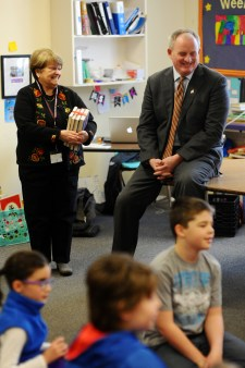 Acting Commissioner Tom Desjardin shares a laugh while talking with young students at his alma mater, Washburn Elementary. He was joined on the first stop of his tour yesterday of Auburn schools by his first grade teacher, Mrs. Bristol, who retired from that district in 2005. To invite the Acting Commissioner to see how your school is putting students first, contact Maine DOE's Communications Director at samantha.warren@maine.gov.