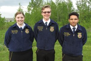Maine FFA 2015-16 State Officers: Dayna McCrum, President; Jordan White, Secretary-Treasurer;  Jason Gurley, Vice President.
