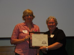 Science Finalist Lauree Gott (left) with Maine DOE's Shari Templeton