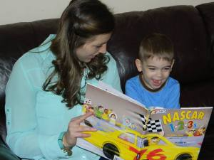 Paige reading to frankie