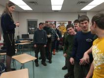 Draper conducts an interactive leadership activity with forestry students at Oxford Hills Technical School