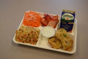Yarmouth lunch meal- homemade fish sticks w/tzatziki sauce and Mediterranean millet salad