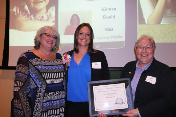 Honoree Kirsten Gould (middle) with her mother Shari Gould (left) and Shari Temple from the Maine DOE (Right)