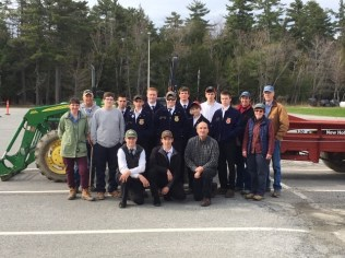 Participants in the FFA Safe Tractor Driving event. First place student Thomas Patenaude (Presque Isle Regional Career & Technical Center) center front, with event Co-Superintendent Richard Brzozowski, University of Maine Cooperative Extension, front right.