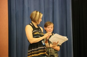 4th grade teacher Sarah Radasch and student