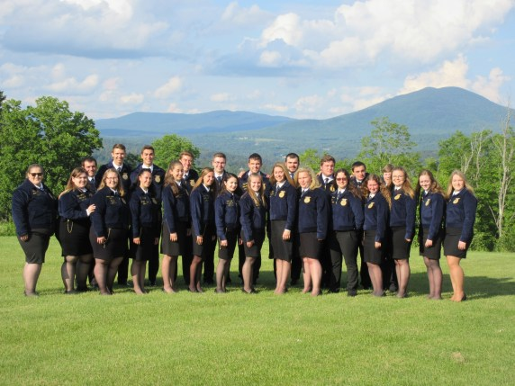 Vermont Regional New England FFA Training Group (Maine Officers Ava Cameron and Camryn Curtis on right, with Graham Berry behind them)