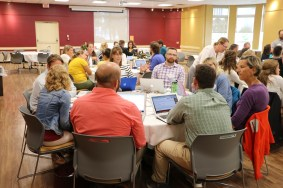 """Skowhegan Area Middle School Professional Learning Community Members Stacey Edgar, Robin Esty, Debora Tanner, Doug McEwen, Zach Longyear, and Jennifer Dorman working with """"Critical Friends,"""" Tom Desjardins from Carrabec Community School and James Black from Mt. Blue Middle School."""