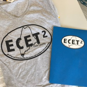 T-shirt and folder with ECET2 logo on it.