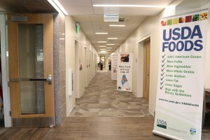 The hallway that can be seen upon entering the new office space for Maine DOE's Child Nutrition and EUT Teams.