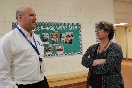 Farwell Elementary School Principal Amanda Winslow talking with Mr. Finn.
