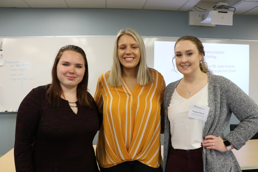 Thomas College Education Majors helping with the Teacher's Academy: Delaina Ferrell, Lillian Friars, and Meghan Stover