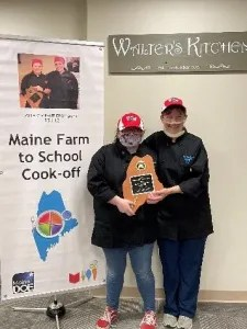 Vicki Dill pictured with student Kiara Luce- 2021 Farm to School Cook-off Champions