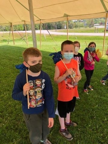 Students pictured on forest day