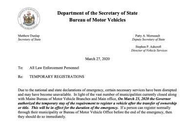 Maine BMV Offers Further Guidance on Registrations for Private Sales