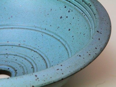Rimmed Bath Sink With Satin Blue Glaze