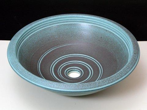 Bath Rimmed Sink with Bronze Green Glaze Over Porcelan