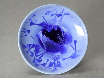 Cobalt Blue Crystalline Footed Bowl