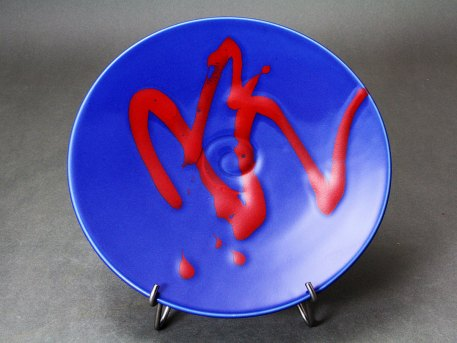 Serving Plate with Red Trail on Cobalt