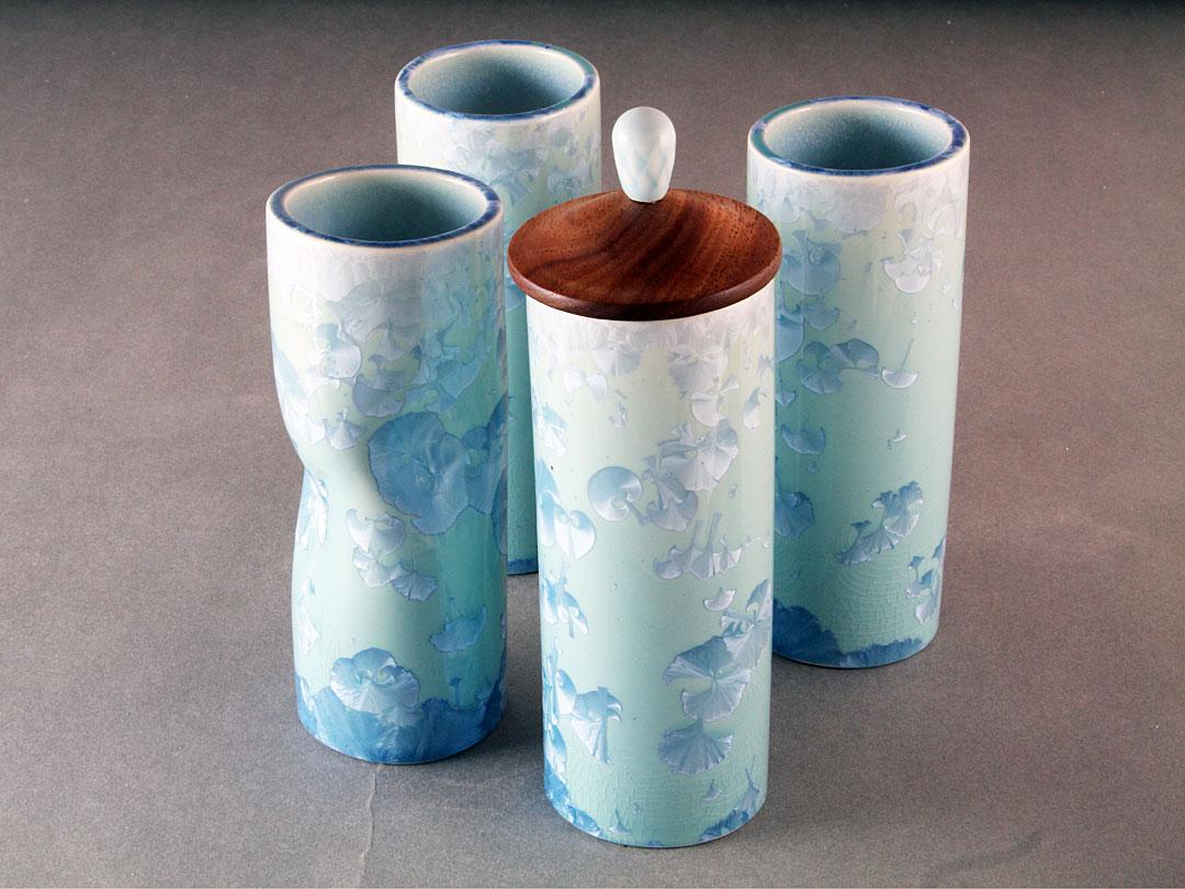 Turquoise Crystalline Tube Vase Group