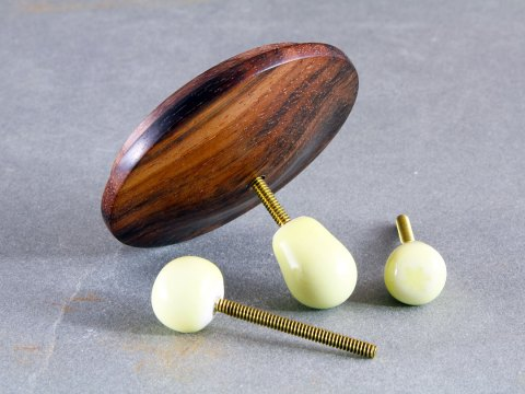 Ebony Wood Lid — Yellow Porcelain Knobs