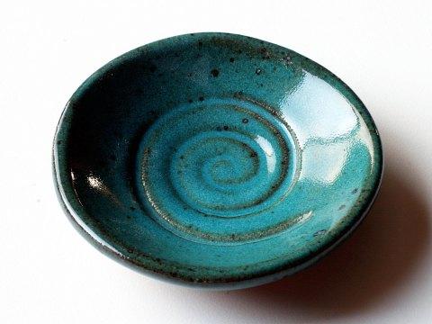 Spiral glaze sample dish turquoise stoneware