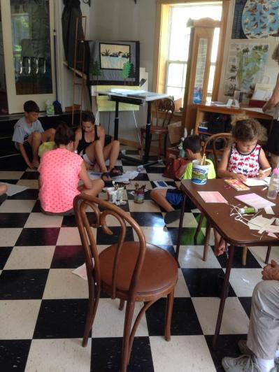 Visitors to the Annex partake in a Nature Journal making course.
