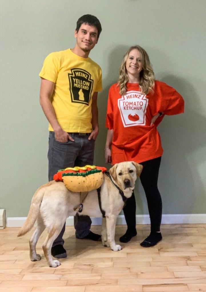 Family DIY hotdog costume