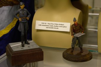 """Two 1/32 scale models of German Officers during WW II. One is the famous Major Eric Hartmann of the Luftwaffe who shot down, in aerial combat, 352 enemy planes. A feat that had never been matched and will never be seen again. """"The Blonde Knight Of Germany"""" spent 10 years as a prisoner of the Russians. The other figure is of a German Submarine officer."""