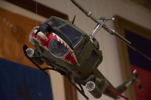 Head on shot of a Huey Gunship in Vietnam.
