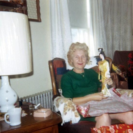 Bill Randall's mother on Christmas morning 1968