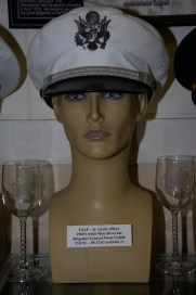 US Air Force Junior Grade officer's 1960s white mess dress hat worn by Brigadier General Norm Gaddis, POW 05-12-1967 to 03-04-1973.