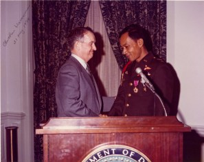 "Chaichan ""Chip"" Harnawee accepting American decorations after homecoming - Retired as a full Col Thailand Army"