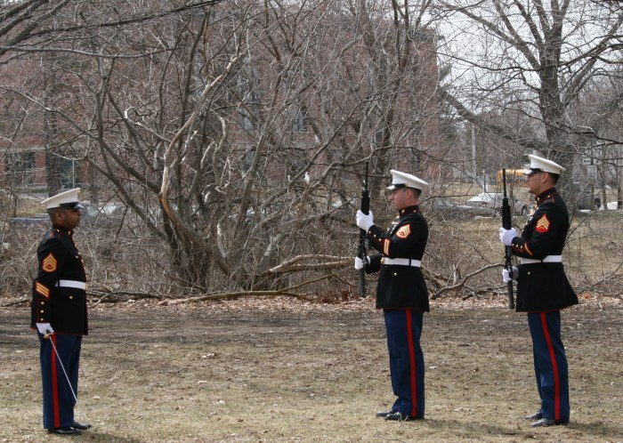 Marine rifle squad at the POW medal ceremonies.