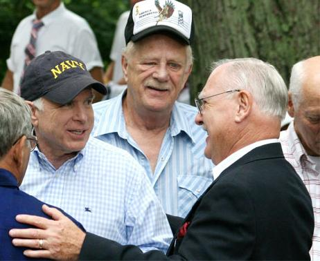 John McCain, Charlie Crafts (a Maine Vietnam War POW), and Lee Humiston at the old little museum.