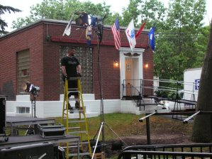 Preparing the lighting at the little museum building.