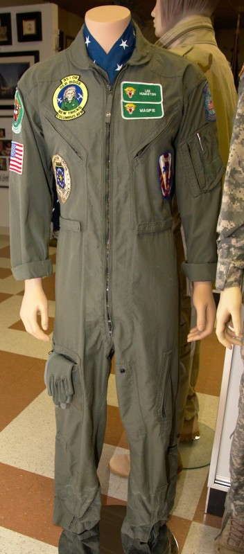 Flight suit for Lee Humiston worn on his last flight with the 560th Flying Training Squadron in 2003.