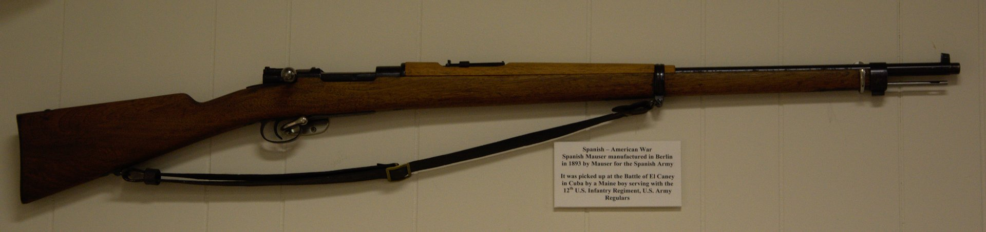 Spanish Mauser made in Berlin, Germany for the Spanish Army. It was captured by a Maine boy with the 26th Regiment of Regulars in Cuba and brought home after the war.