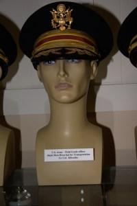 US Army field grade transportation officer's black mess dress hat worn by Lt. Col. Kilcauley.