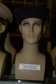US Navy enlisted work hat blue issue ''Black Gang'' worn by MoMM 2/C Robert Maclellan.
