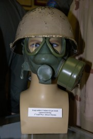 First Gulf War/Desert Storm Iraqi soldier's helmet and gas mask