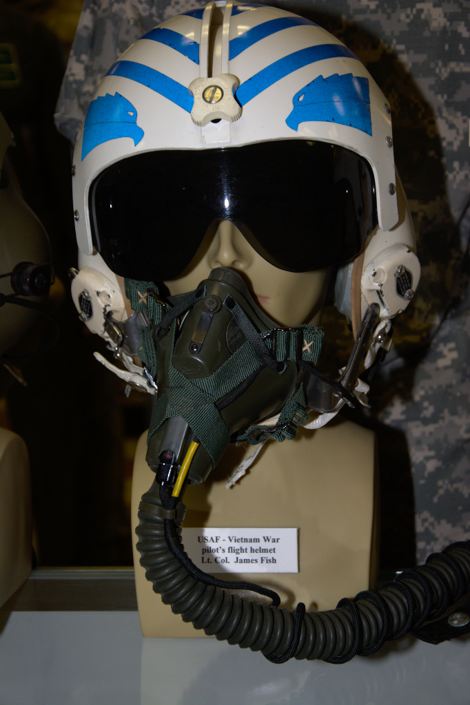 Vietnam War US Air Force pilot's fligh helmet worn by Lt. Col. James Fish.