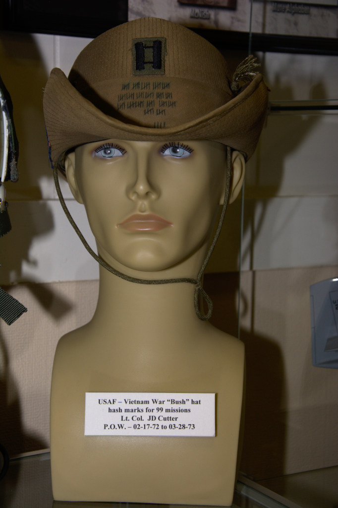 Vietnam War US Air Force ''Bush'' hat showing hash marks for 99 missions worn by Lt. Col. J. D. Cutter, POW 02-17-1972 to 03-28-1973.