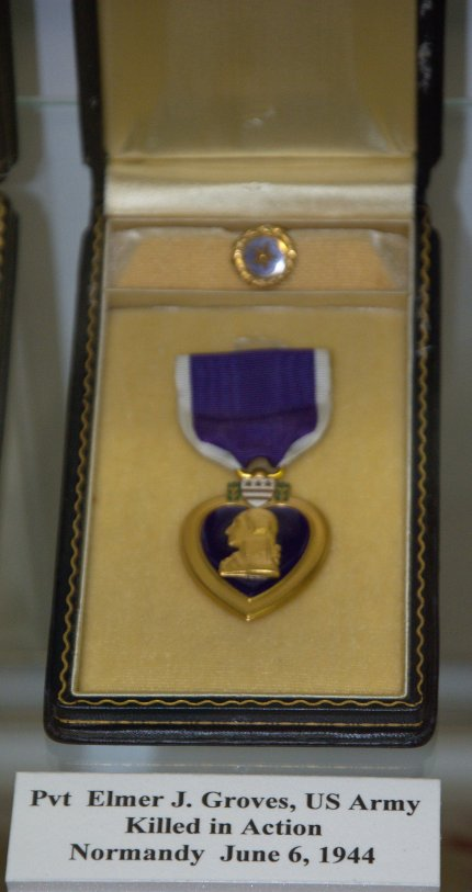 Purple Heart and Gold Star for Private Elmer J. Groves, killed in action at Normandy.