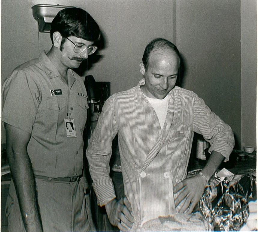 Lt Carroll Beeler, USN (right, image taken at Clark Airbase Hospital March 1973)