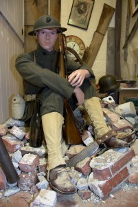 World War I United States Marine in a bombed out French home
