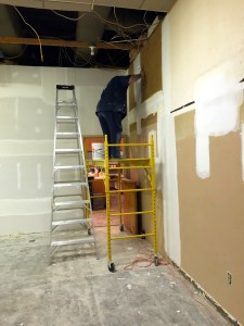 Patching walls in the old kitchen