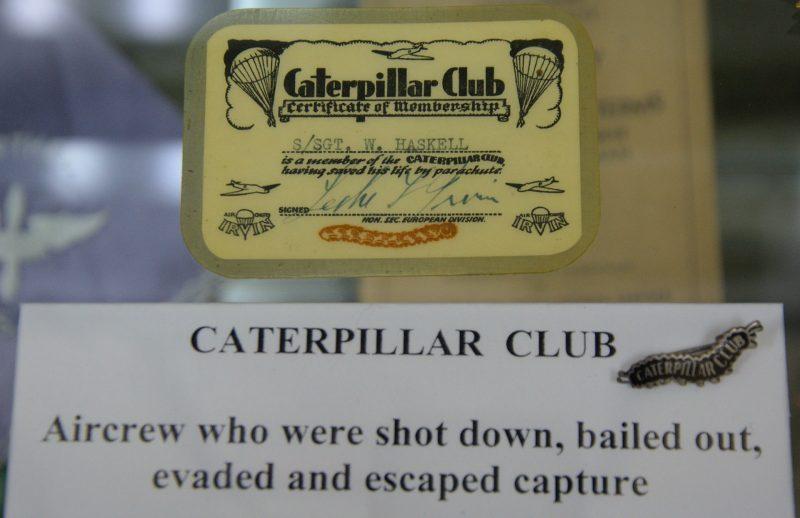Irvin Caterpillar Club Membership Certificate and Switlik Caterpillar Club pin