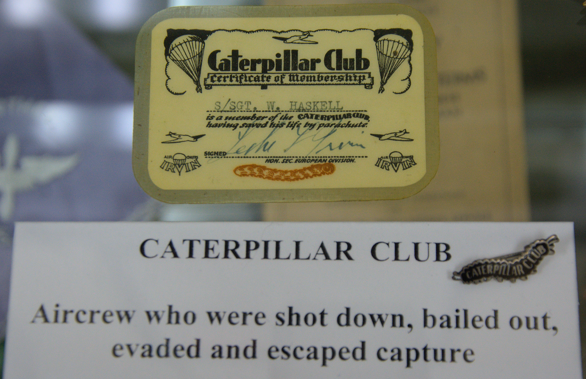 Irvin Caterpillar Club Membership Certificate and Switlik Caterpillar Club pin