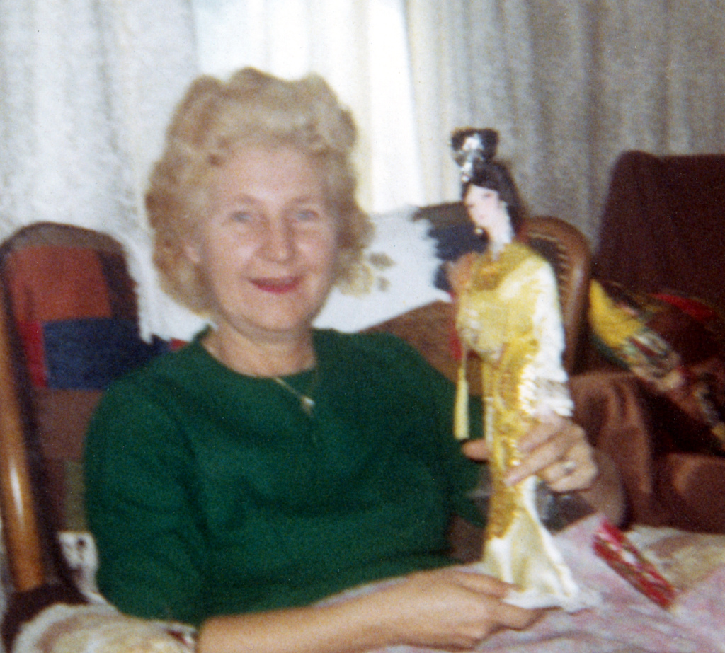 Bill Randall's mother on Christmas morning 1968