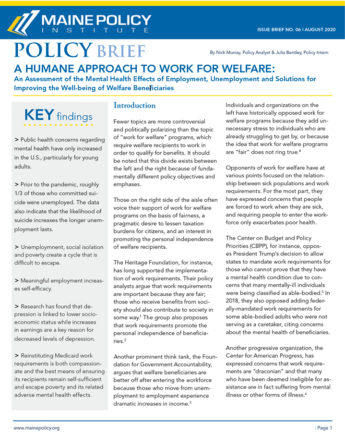 A Humane Approach to Work for Welfare